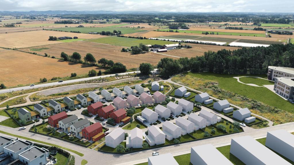 Välplanerat kedjehus i Träslövs Trädgårdsstad, Varberg